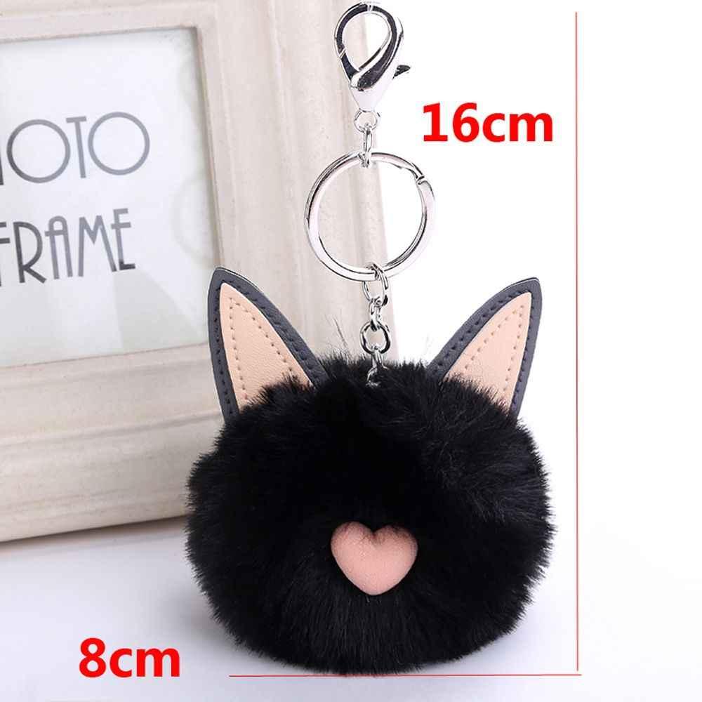 Pompom bonito Plush Fluffy Orelhas Faux Rabbit Fur Mulheres Saco Bolsa Pingente de Chave Do Carro Chaveiro Anel Fivela Acessórios de Moda Jóias