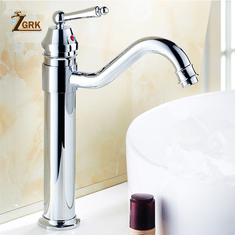 ZGRK Bathroom Faucet High Quality Luxury Ceramic Sink Basin Faucet Mixer Kitchen Tap Copper Antique Style