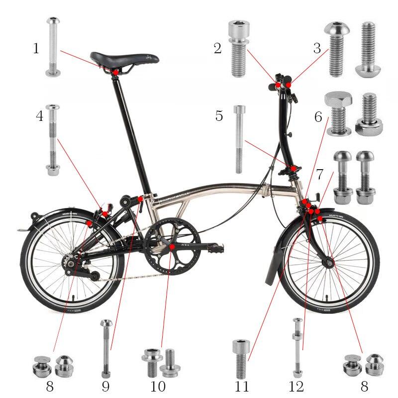 Велосипед титановые болты Винты Комплект для Brompton Титан велосипед Тормозные руль фиксация подседельный хомут болт для гарнитуры