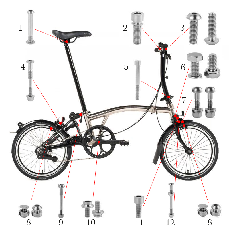 Vélo vélo titane boulons vis ensemble pour Brompton titane pliant vélo frein guidon fixation tige de selle pince casque boulon