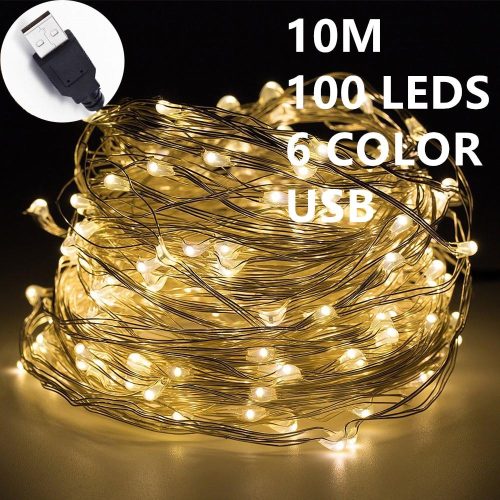 10M 100leds Fairy font b String b font Lights lamp 6color USB Operated Mini font b