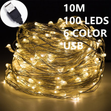 10M 100leds Fairy String Lights lamp 6color USB Operated Mini LED Decorative holiday lighting for outdoor with Valentine's Day