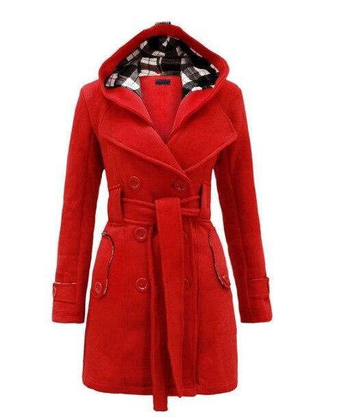 Autumn Elegant Vintage Office Lady Women Overcoats Slim Plain Belt Girls Winter Gray Female Coats Hooded Double-Breasted 2XL 3XL