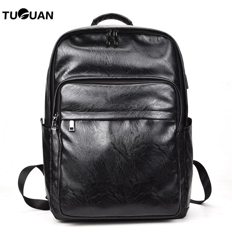 TUGUAN New Men Backpack Leather USB Charge Lptop Bag Pack Fashion SchoolBag College Student Male Business Bags Travel Backpack