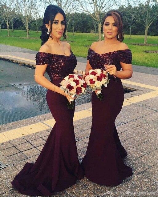 700d92f38 2019 Borgoña el hombro largo sirena vestidos de dama de Honor brillante  lentejuelas vestidos de boda