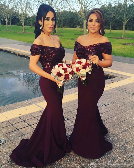 2019 Burgundy Off the Shoulder Mermaid Long Bridesmaid Dresses Sparkly  Sequined Wedding Guest Dresses Blush Maid of Honor Gowns 46a4d1377793