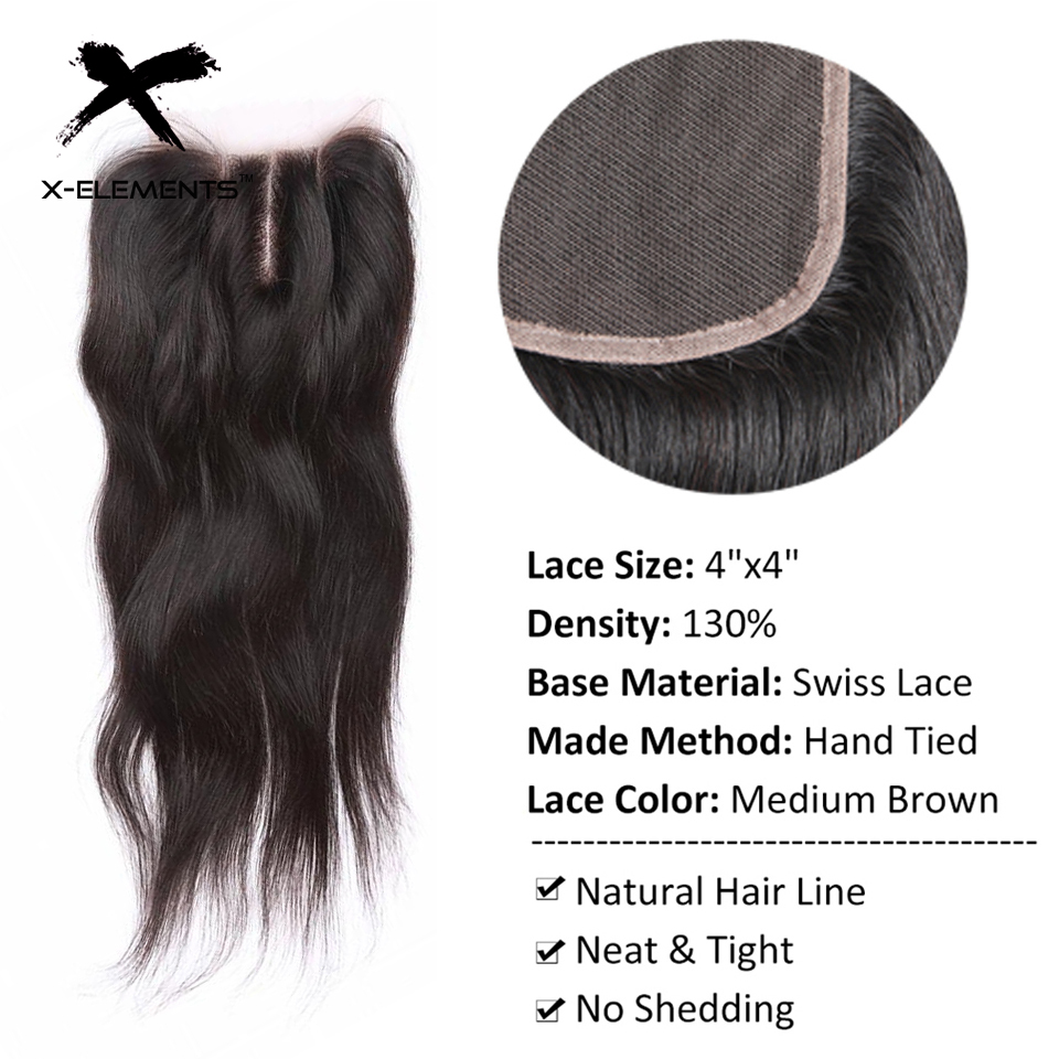 X-Elements Hair 4 * 4 Closure 1 Piece Extensions Peruvian Mänska - Mänskligt hår (svart) - Foto 3