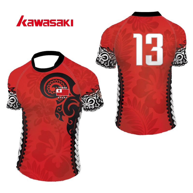 Kawasaki Brand Custom Rugby Practice Jerseys Men Breathable Polyester Sublimation Print Fans Rugby Uniforms Jersey Shirts