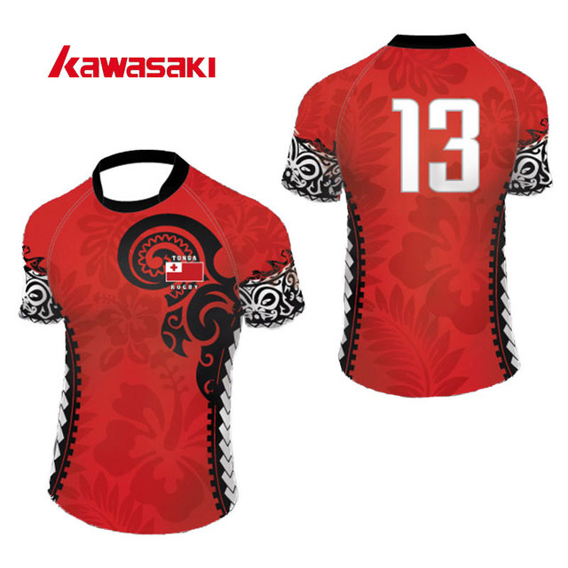 Kawasaki Brand Custom Rugby Practice Jerseys Men Breathable Polyester Sublimation Print Fans Uniforms Jersey Shirts