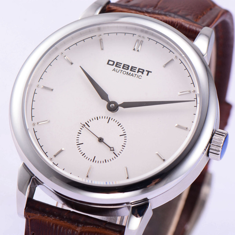 Debert 40mm White Dial Silver Hand erkek kol saati sapphire Crystal Brown Straps Men Automatic Watch Debert 40mm White Dial Silver Hand erkek kol saati sapphire Crystal Brown Straps Men Automatic Watch