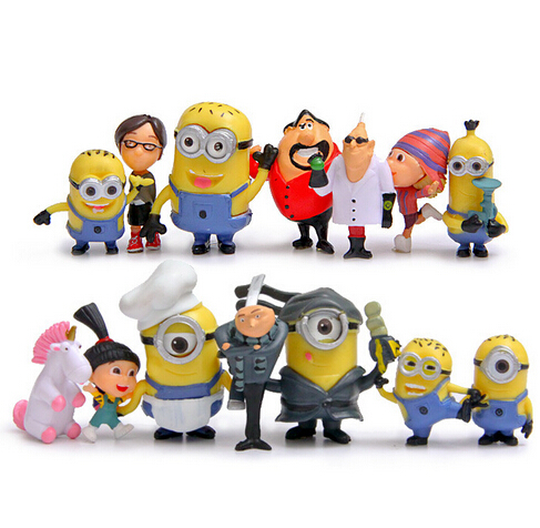 New hot  toys  Movie Despicable Me 3 3D Eye Anime Cartoon Mini Minions Action Figure Model Toys polystar банка для сыпучих продуктов джем polystar
