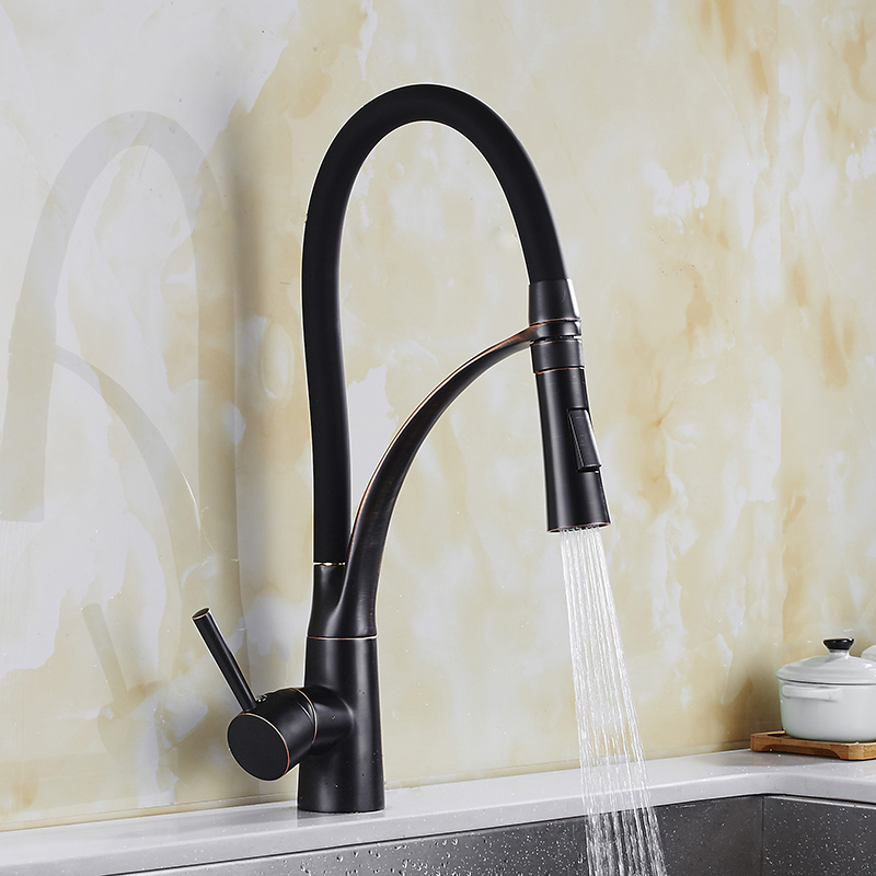 Pull Out Kitchen Faucet black Oil Brushed kitchen Sink Mixer Tap 360 degree rotation kitchen mixer taps Kitchen Crane newly arrived pull out kitchen faucet gold chrome nickel black sink mixer tap 360 degree rotation kitchen mixer taps kitchen tap
