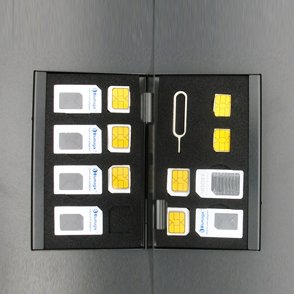 New Aluminum Portable SIM Micro Pin SIM Card Nano Memory Card Storage Box Case Protector Holder Black