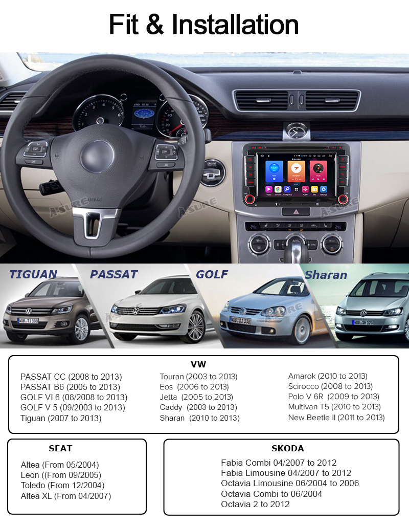 Android 9.0 VW PASSAT TIGUAN Golf 7 2 Din GPS DVD DAB + 65