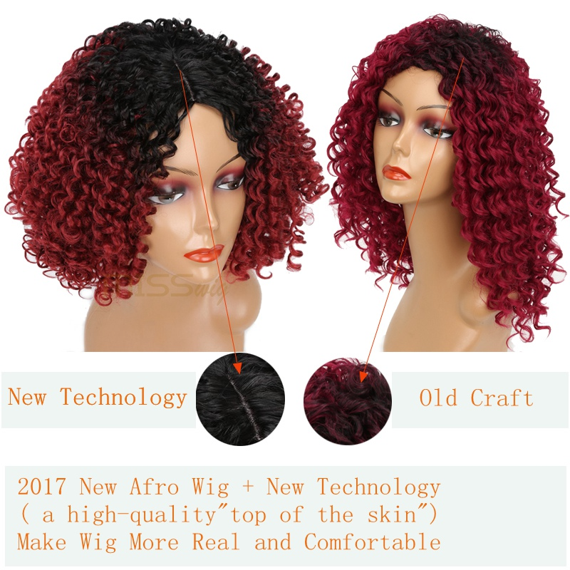 Image 2 - MISS WIG Long Black Ombre Red Wigs Kinky Curly Wigs for Black Women Synthetic Hair High Temperature Fiber Afro Women-in Synthetic None-Lace  Wigs from Hair Extensions & Wigs
