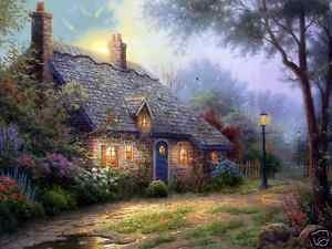 Beautiful Oil painting landscape garden house flowers