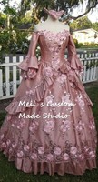 Custom Made New Style Dusty Rose Floral Sparkle Fantasy Marie Antoinette Princess Gown Wedding Party