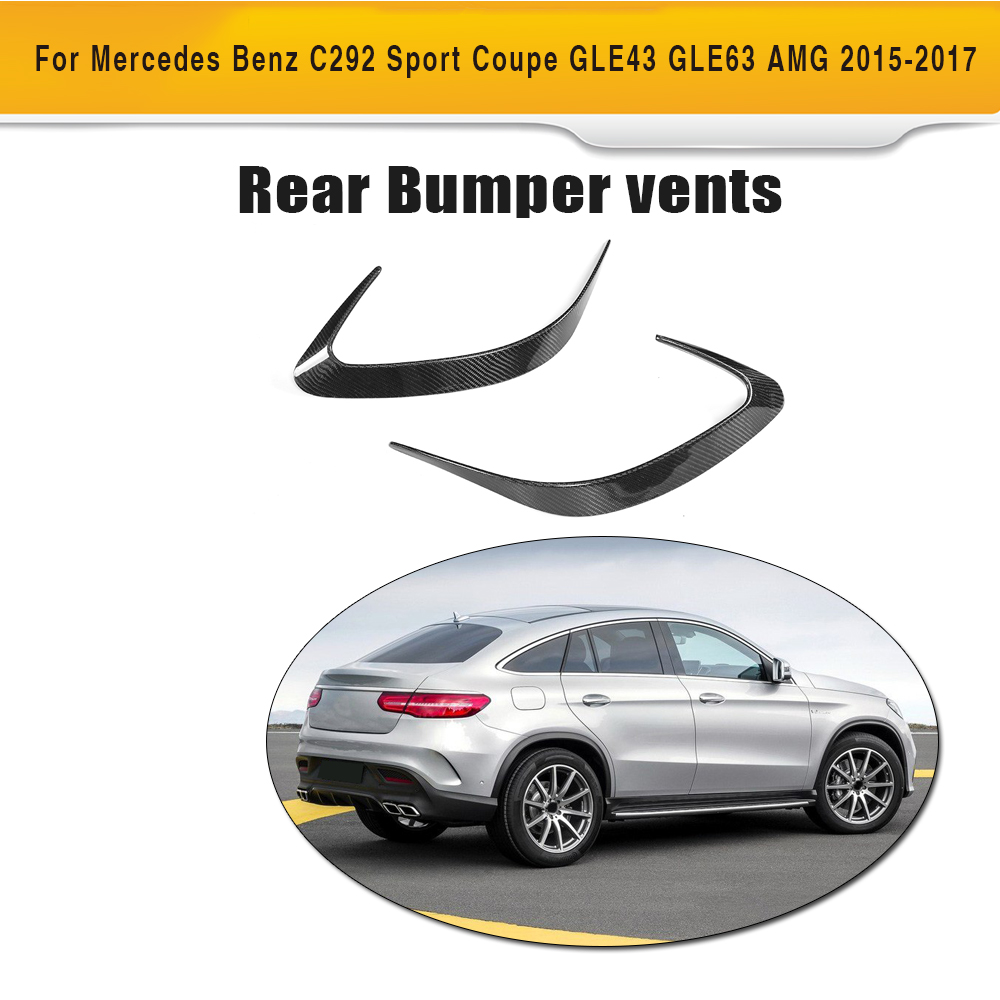 GLE Class Carbon fiber Rear bumper Side Trunk decoration Vent Wings for Mercedes Benz C292 SUV 4 Door 15-17 GLE43 GLE63 AMG 2PC for mercedes benz cla class w117 cla180 cla200 cla250 cla45 amg carbon fiber front lip splitter flap canard fits sporty car amg