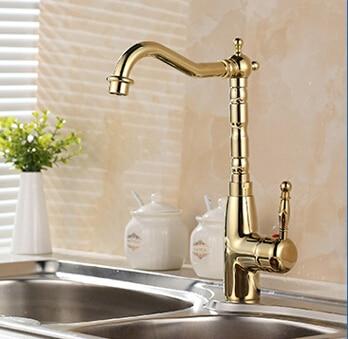 US $37.82 39% OFF|Neuheiten Europäischen Retro Stil und Gold Oberfläche  Küche Wasserhahn Bad Becken Wasserhahn Durch Messing Waschbecken Wasserhahn  ...