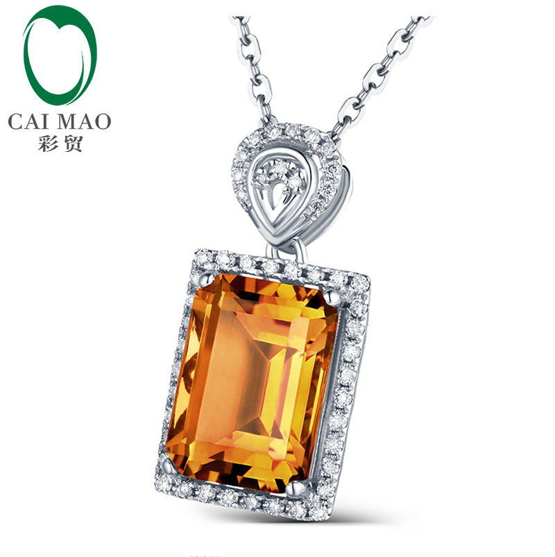 Emerald Cut 3.15ct Citrine & 0.20ct Diamond Accented Engagement 14kt White Gold Pendant Caimao Jewelry - 4