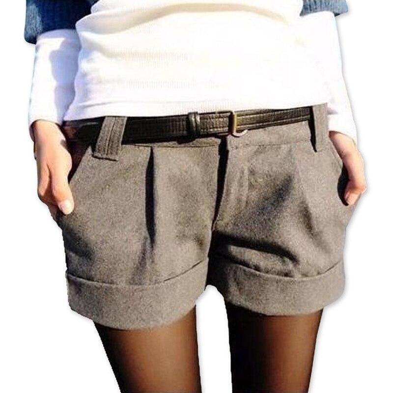 Danjeaner  Autumn Winter Women Casual Plus Size Woolen Shorts High Waist Thick Slim Booty Shorts Black Gray Shorts