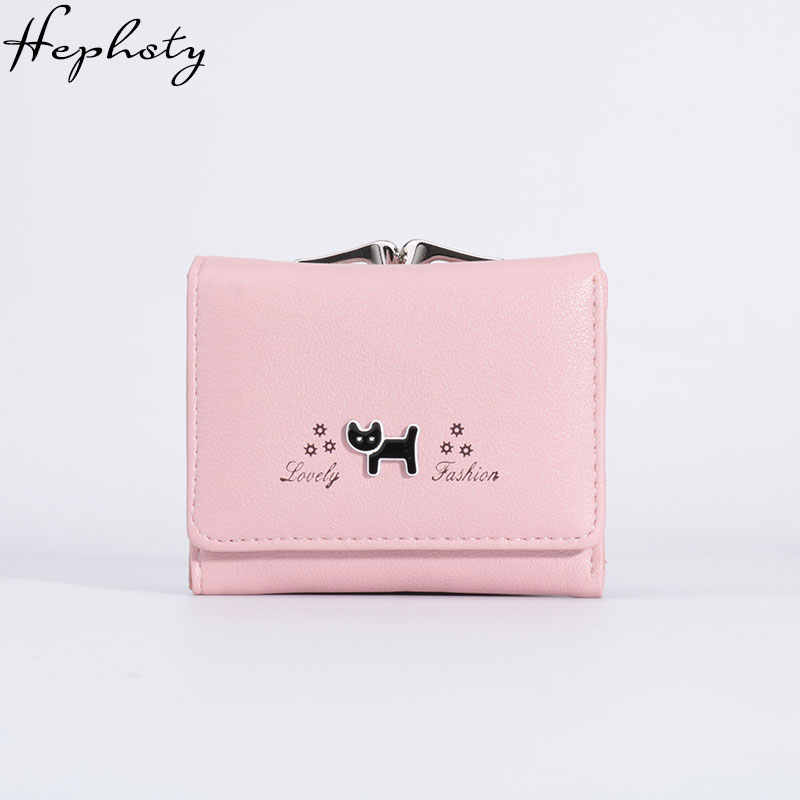 Small Purse Female Black Cat Mini Wallet Girls Cute Leather Hasp Purse Lady  Card Holder Women 3adea6207a30