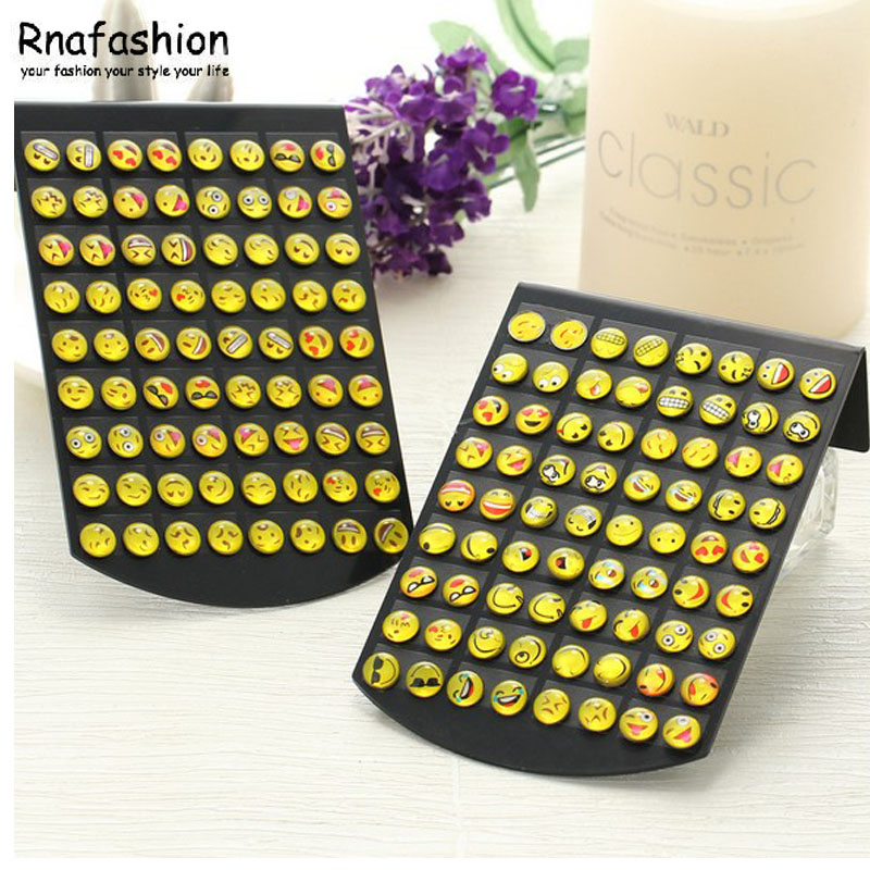 New Design 36 Pairs Emoji Funny Stud Fashion Cartoon Smile Face or Women Girls Ladies Kids Childrens Trendy Ear Jewelry Gifts