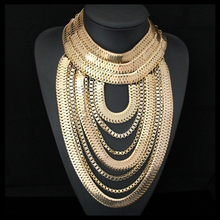 CirGen Fashion Gothic Gold plated Snake Chunky Multi layer Chain Handmade Statement Choker Bijoux Necklace Women Jewelry,C13