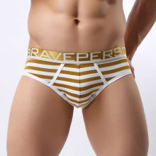 Cotton Shorts Men Sexy Fashion Briefs Striped Wide Belt