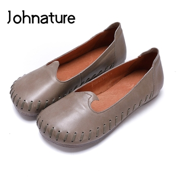 Johnature 2020 New Spring/Autumn Simple Style  Genuine Leather  Round Toe Sewing Retro Slip On Women Shoes