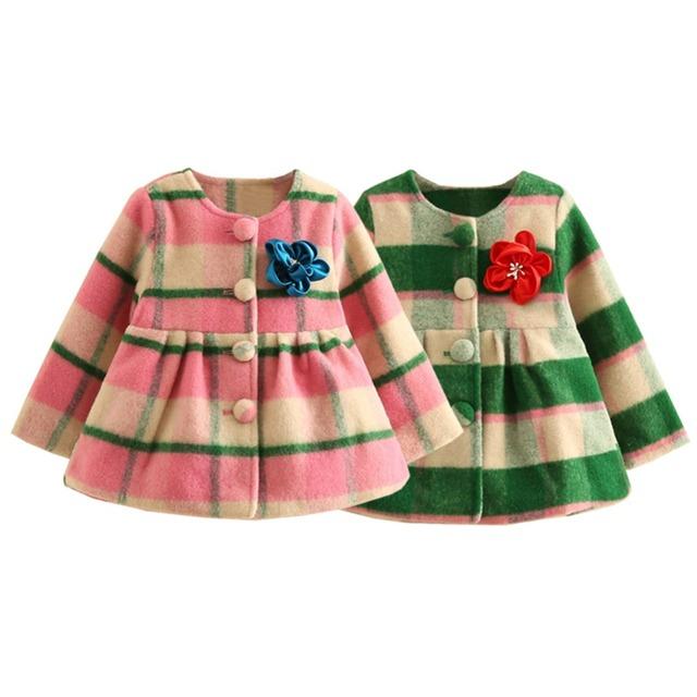 LittleSpring Bebé O Cuello de Abrigo Princesa de Moda Rayas de Colores Ropa de abrigo de Lana de Abrigo Moda Niños Chicas Chaqueta Nizi