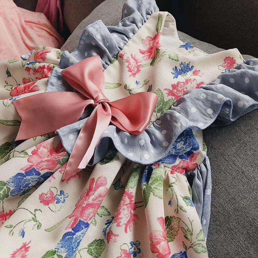 Bébé filles robe de princesse rétro Floral Lolita robe espagnole Boutique Vintage enfants robe fête d'anniversaire vêtements Vestidos Y1136 - 4