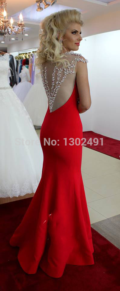 Aliexpress.com : Buy 2014 Elegant Sheer Tulle Beaded red prom ...