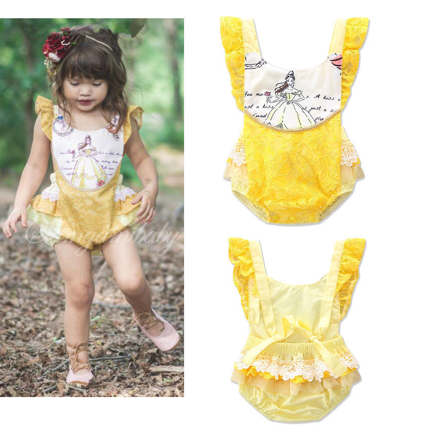 Baby girls yellow lace cotton rompers summer fashion kids jumpers infant cartoon princess overalls angel newborns clothes 17J701