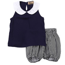 Toddler Kids Girl Beach Outfits Girls Summer outfits Turn-down Collar Clothes T-shirt Vest Tops+Striped Shorts Pants 2PCS Set