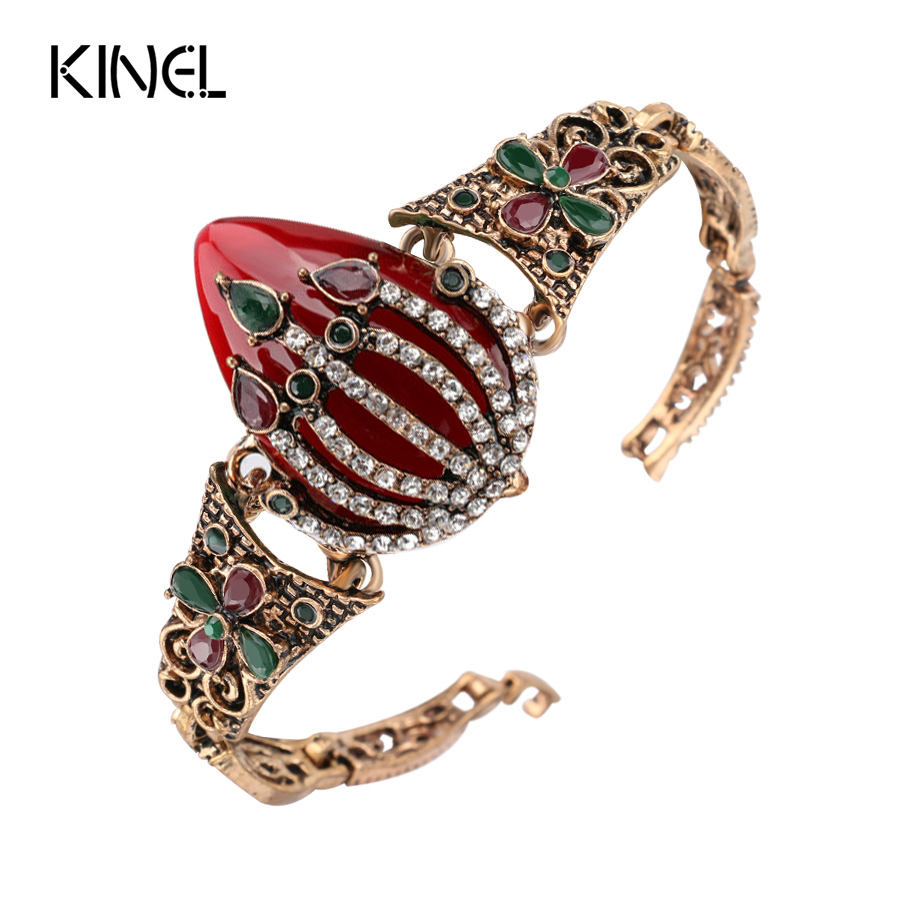 Antique Gold Over White Crystal Bangle Bracelet For Womens Fashion Jewelry