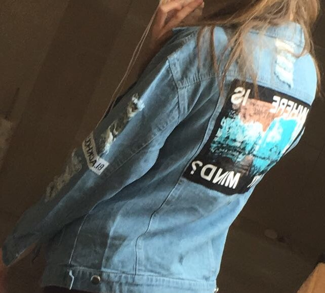Where is my mind? Korea Kpop retro frayed embroidery letter patch women's denim bomber jacket Ripped Distressed Blue Coat Female 9