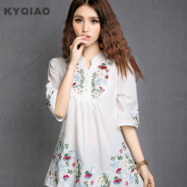 KYQIAO Traditional Chinese clothing 2019 women motherplus size ethnic brand short sleeve embroidery   blouse     shirt   top blusa