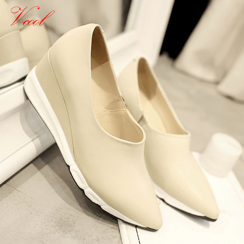 ФОТО 2016 Spring New Wedge Shoes brand Casual Shoes Genuine Leather Black White Wedges For High Quality Shoes