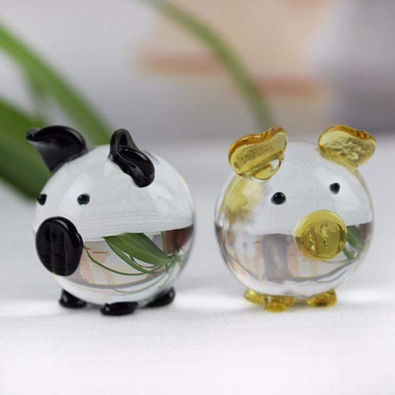 JQJ Christmas Crystal Glass Animal Pig miniature Figurines Desk Bauble Ornaments Mini Home Furniture Wedding Crafts Souvenirs