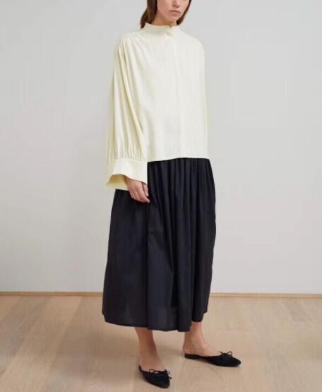 أعلى جودة كبيرة الحجم بلوزة قمم واسعة الأكمام الوقوف كولور زر يصل الجبهة امرأة أزياء فضفاضة أعلى 2019SS-في بلوزات وقمصان من ملابس نسائية على  مجموعة 1