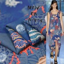 Sea animal print silk fabric quality natural silk double georgette 100cm*140cm