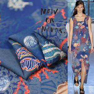 Image 1 - Sea animal print silk fabric quality natural silk double georgette 100cm*140cm