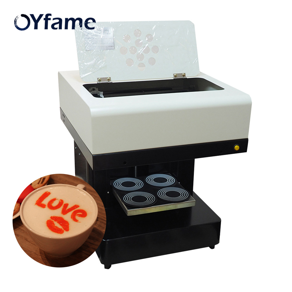 OYfame 4 Cups Coffee Printer Food Cake Chocolate Selfie Priter Coffee Printing Machine For Cappuccino Biscuits With 2 Set Ink