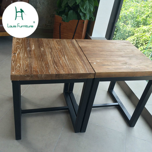 Us 155 0 Louis Fashion Dining Table American Iron Art Solid Wood Square Creative Wind Furniture Old Bar Small Family Coffee In