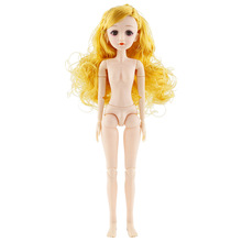36cm 22 Movable Jointed Dolls Fashion 1/4 BJD Doll Nude Doll Body With Long Silk Hair 3D Eyelash Toy for Girls недорого