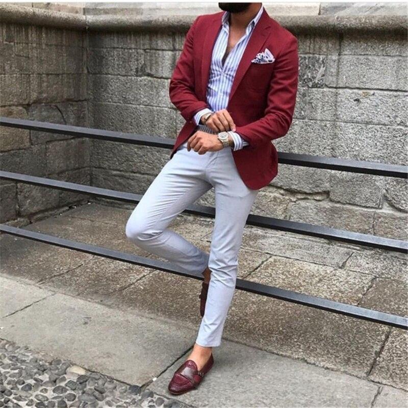 Custom Mens Suits Burgundy Red Suit Blazer Men Tuxedo Suit Jacket Men Suits For Wedding Slim Fit 2 Piece With Pants