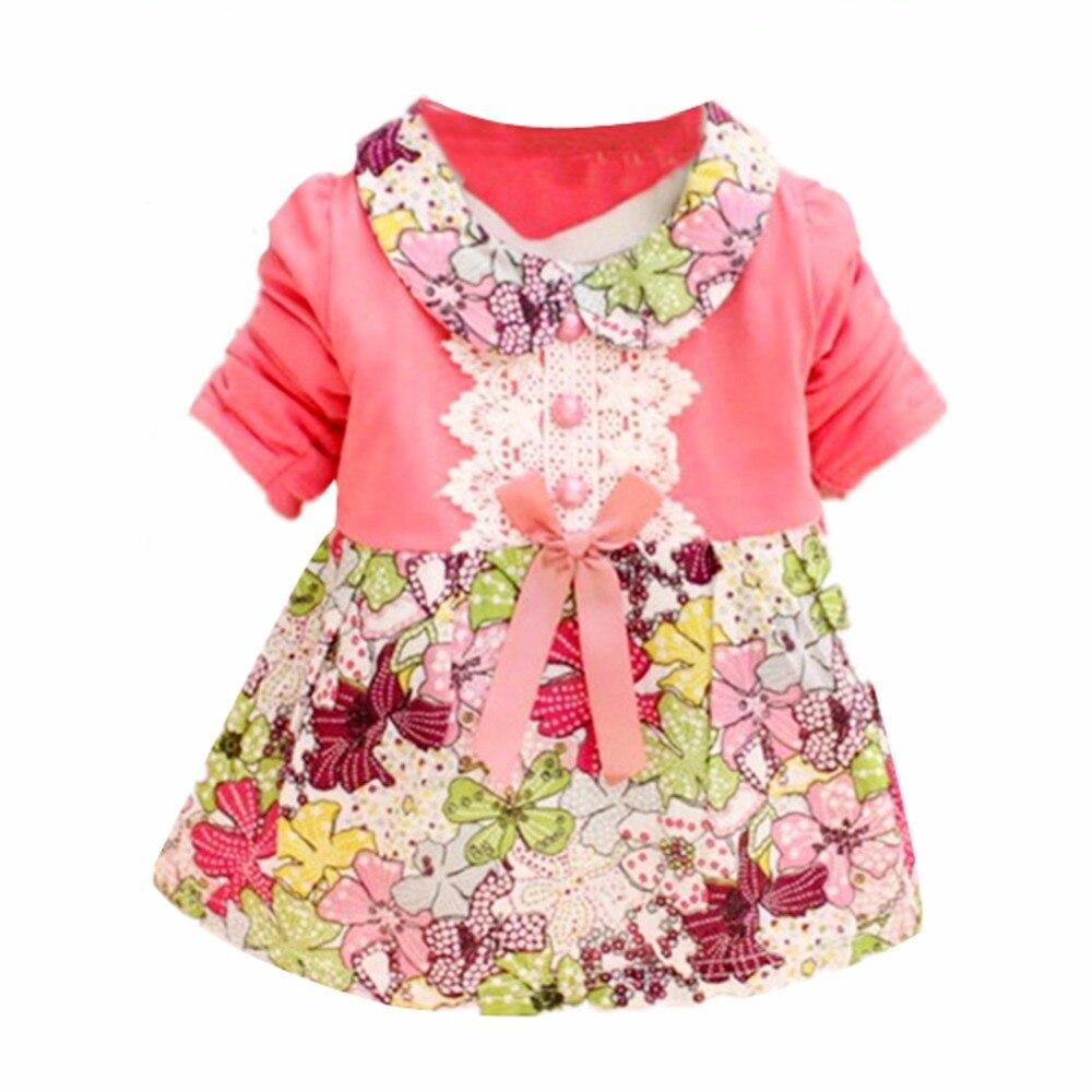 Summer Toddler Baby Girls Floral Princess Dress Princess Bow One Piece Kids Dress 0-2Y