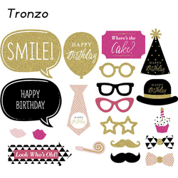 Tronzo new gold shinning happy birthday decoration photo booth 20pcs paperboard glasses cupcake funny birthday party.jpg 250x250