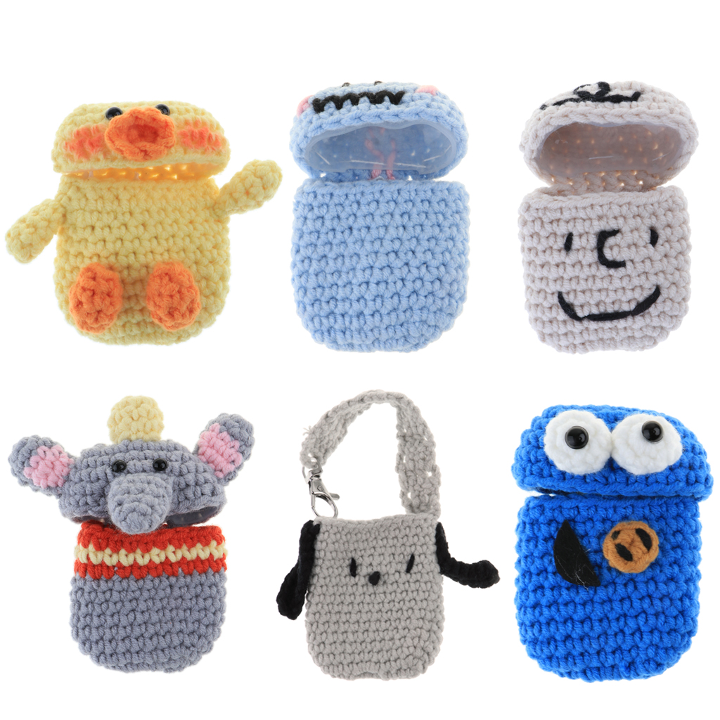 6 pièces couleur bonbon et Style de bande dessinée écouteurs couvre tricot laine chargeur boîte pour AirPods 360 degrés Protection